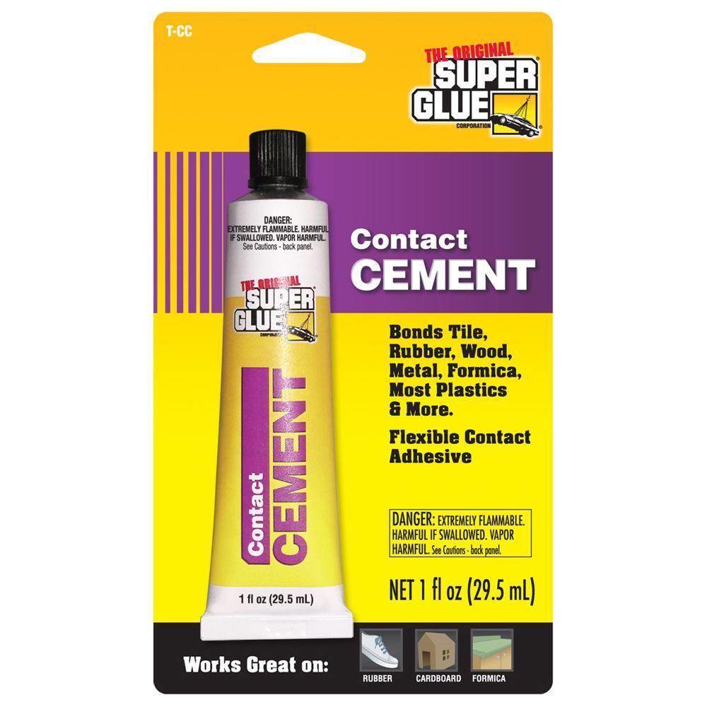 Super Glue 1 fl. oz. Contact Cement (12-Pack) Contact cement is a flexible, acrylic, contact adhesive. Use it to repair all kinds of household items. Works on bond tile, rubber, wood, metal, plastic, leather, formica, laminates, masonite, particle board, plywood, tile and more.