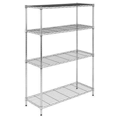 Scout 53 in. Chrome 4-Shelf Wire Rack