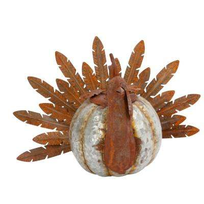 10.25 in. Metal Harvest Turkey with Pumpkin Body