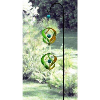 40 in. Green and Yellow Metal Wind Spinner with Shepherd Hook