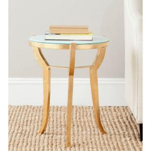Safavieh Ormond Gold and White Glass Top End Table by