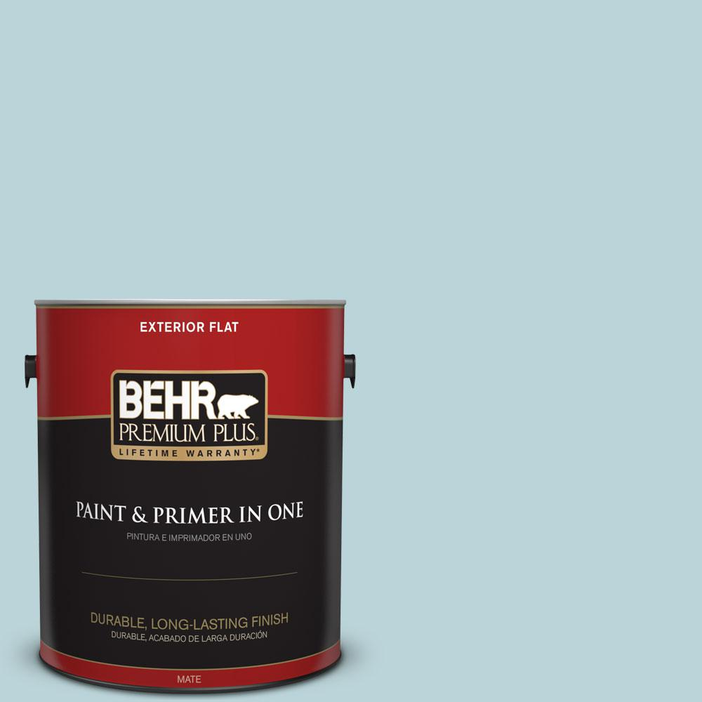 BEHR Premium Plus 1-gal. #510E-2 Rhythmic Blue Flat Exterior Paint
