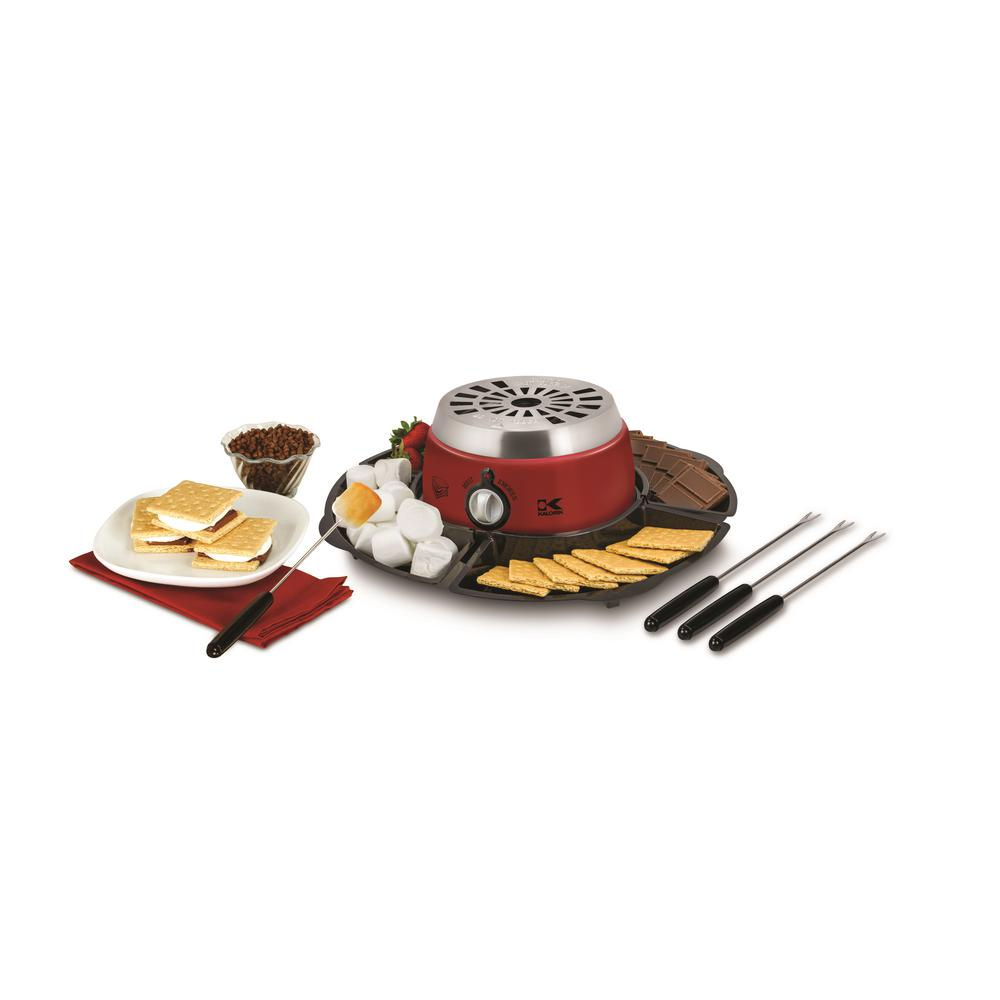 Kalorik 2-in-1 Chocolate Fondue and S'Mores Maker, Red/Or...