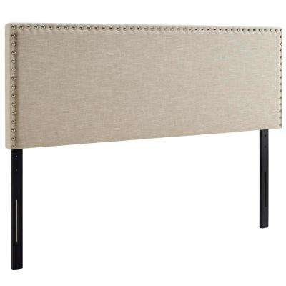 Phoebe Beige Full Upholstered Fabric Headboard