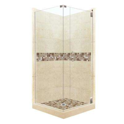 Tuscany Grand Hinged 42 in. x 42 in. x 80 in. Right-Hand Corner Shower Kit in Desert Sand and Satin Nickel Hardware