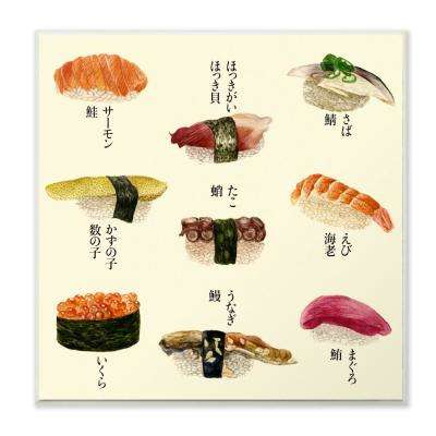 """12 in. x 12 in."""" Sushi Illustration Chart"""" by Melissa Wang Printed Wood Wall Art"""