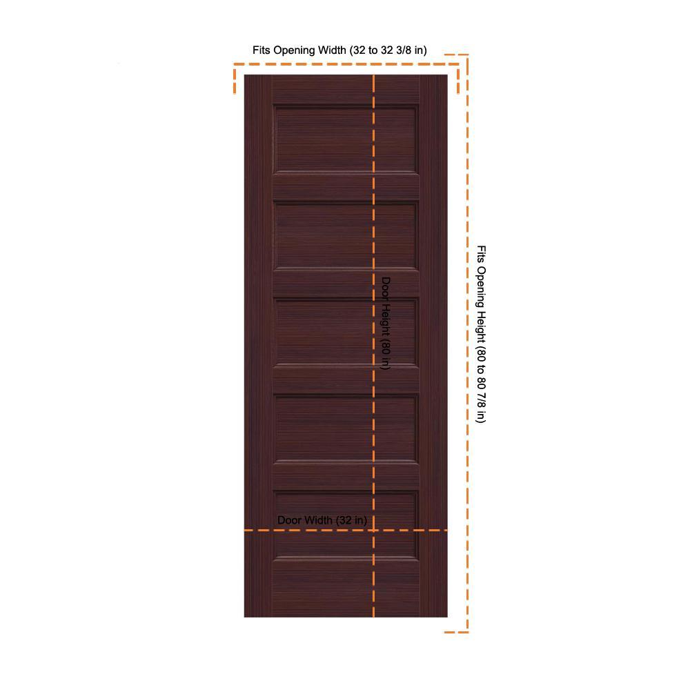 Jeld Wen 32 In X 80 In Conmore Black Cherry Stain Smooth Solid Core Molded Composite Interior Door Slab