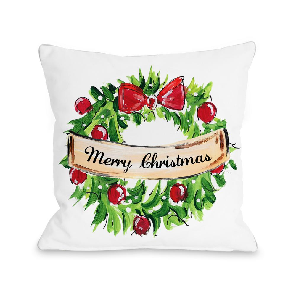 Christmas Wreath 16 in. x 16 in. Decorative Pillow 72842PL16 - The Home Depot