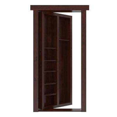 32 in. x 80 in. Flush Mount Assembled Pool Cue Door Alder Dark Stained Left-Hand Inswing