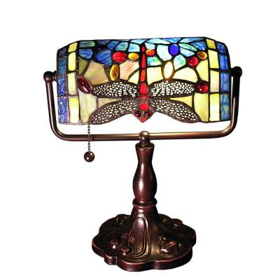 Warehouse of Tiffany Stella 12 in. Bronze Indoor Desk Lamp with Blue Dragonfly Accent Shade