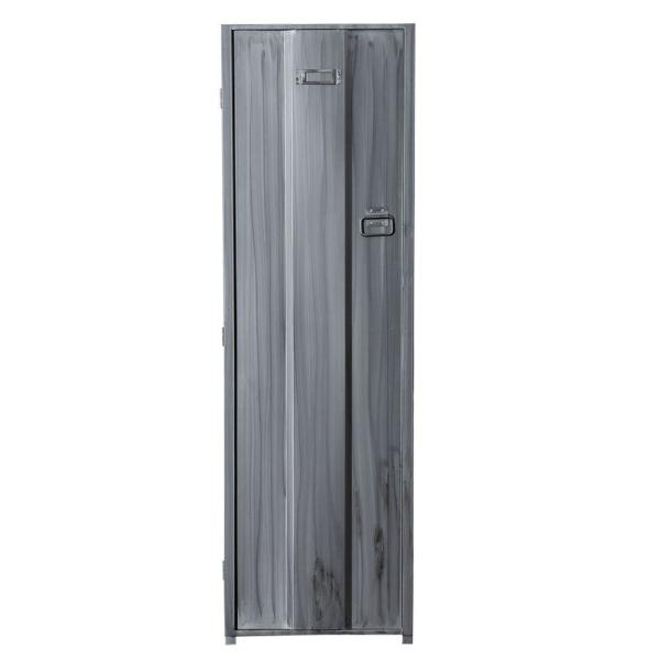 Contemporary Silver Metal Locker Inspired Armoire with 2-Shelves and Metal Pulls 20.25 in. L x 20.75 in. W x 66.5 in. H