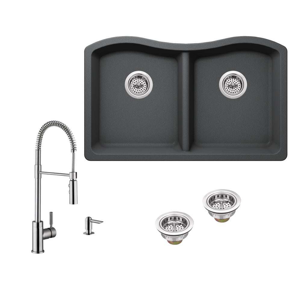 All-in-One Undermount Granite Composite 33 in. 50/50 Double Bowl Kitchen Sink