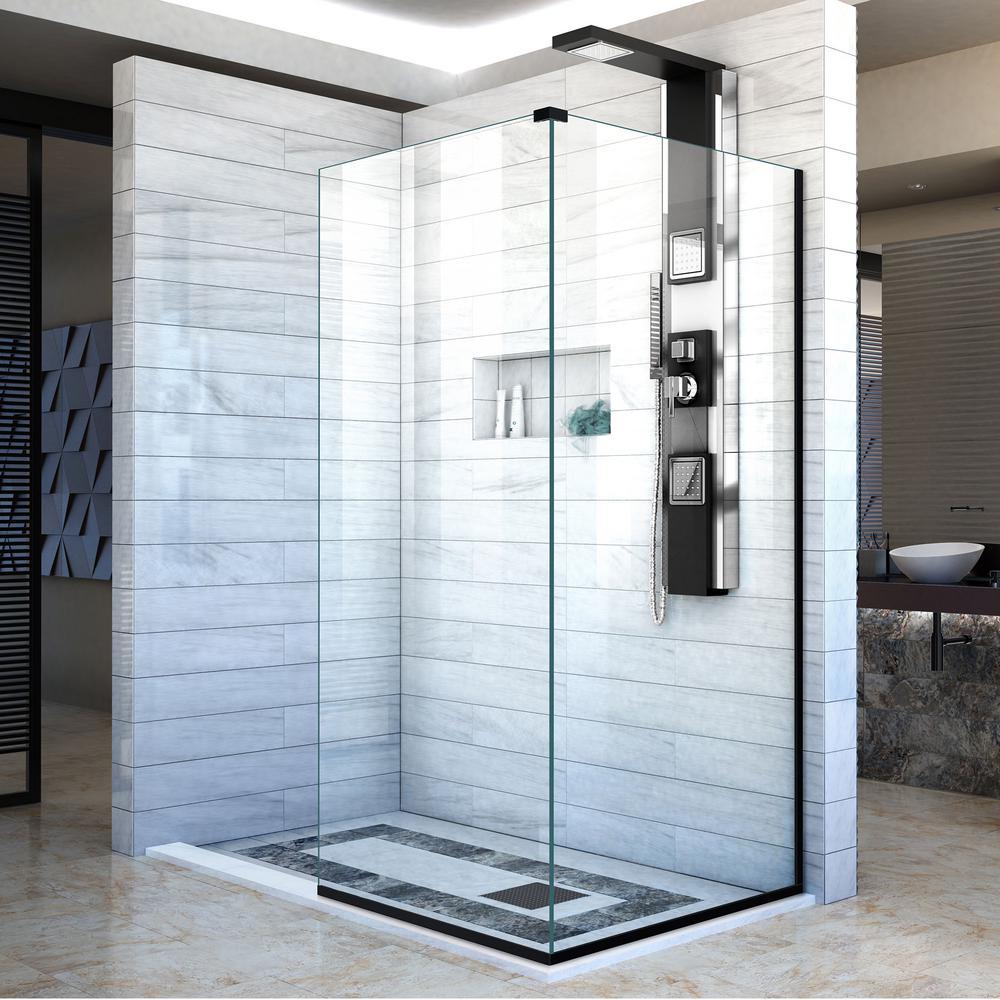 DreamLine Linea 34 in. x 72 in. Frameless Corner Fixed Shower Door ...