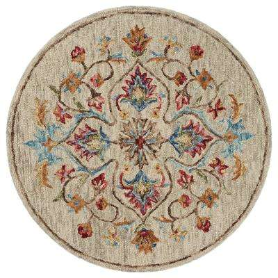 Sinuous Beige 6 ft. x 6 ft. Trailing Floral Oasis Round Area Rug