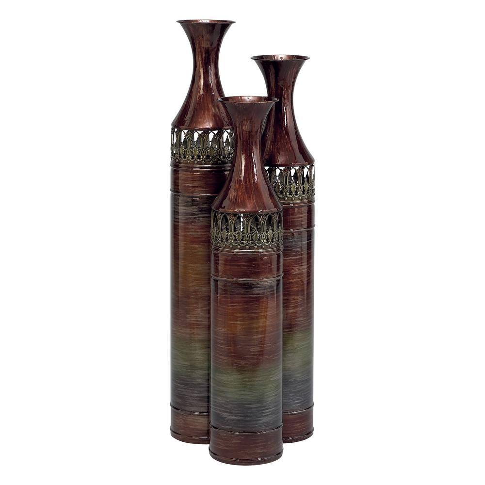 Tall multi colored metal slender floor vases set of 3 63575 tall multi colored metal slender floor vases set of 3 reviewsmspy