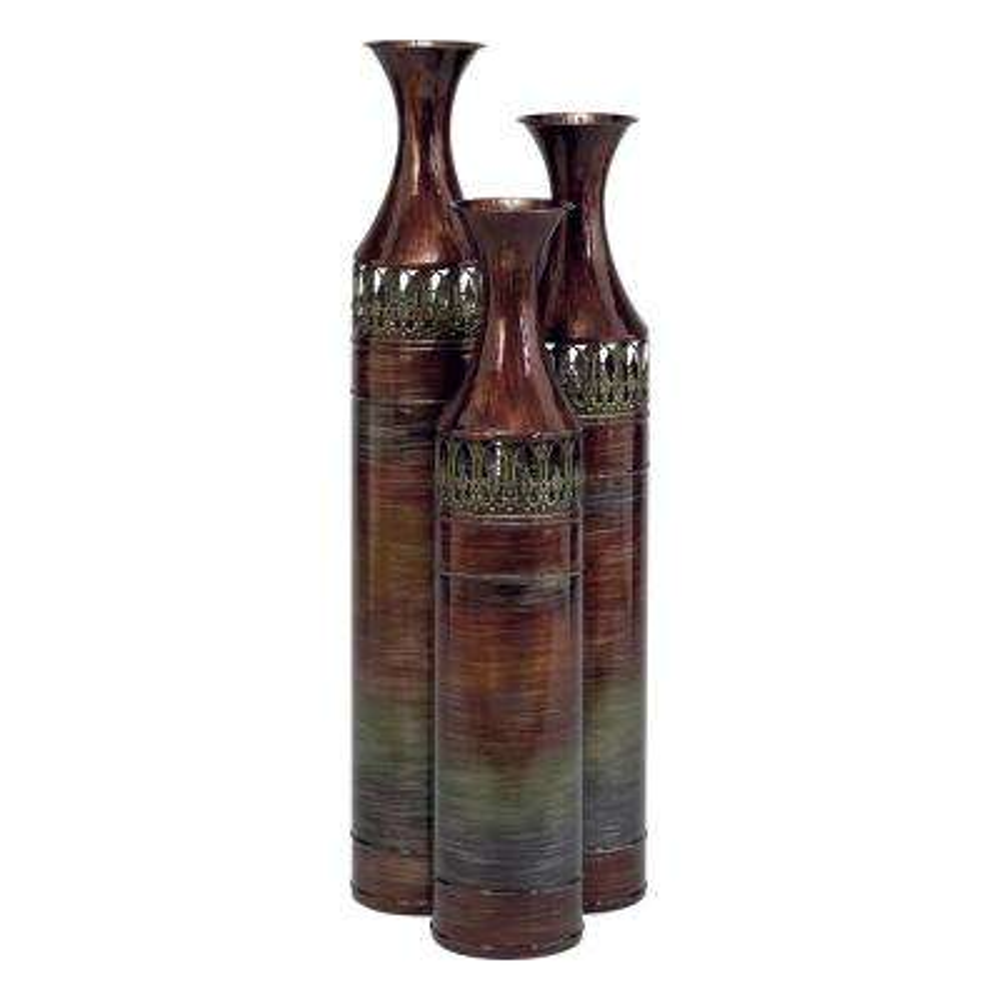 Tall Multi-Colored Metal Slender Floor Vases (Set of 3)