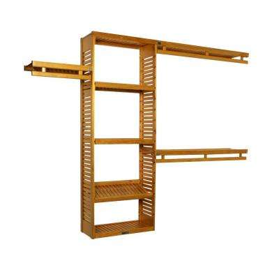 12 in. D x 96 in. W x 84 in. H Simplicity Wood Closet System in Honey Maple