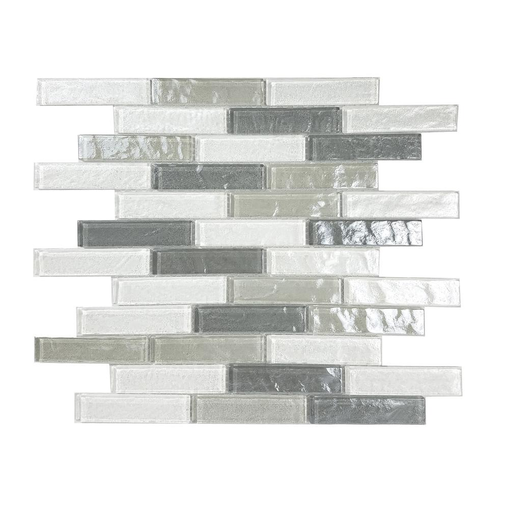 Gray Mosaic 1 in. x 4 in. Textured Glass Mesh Mounted