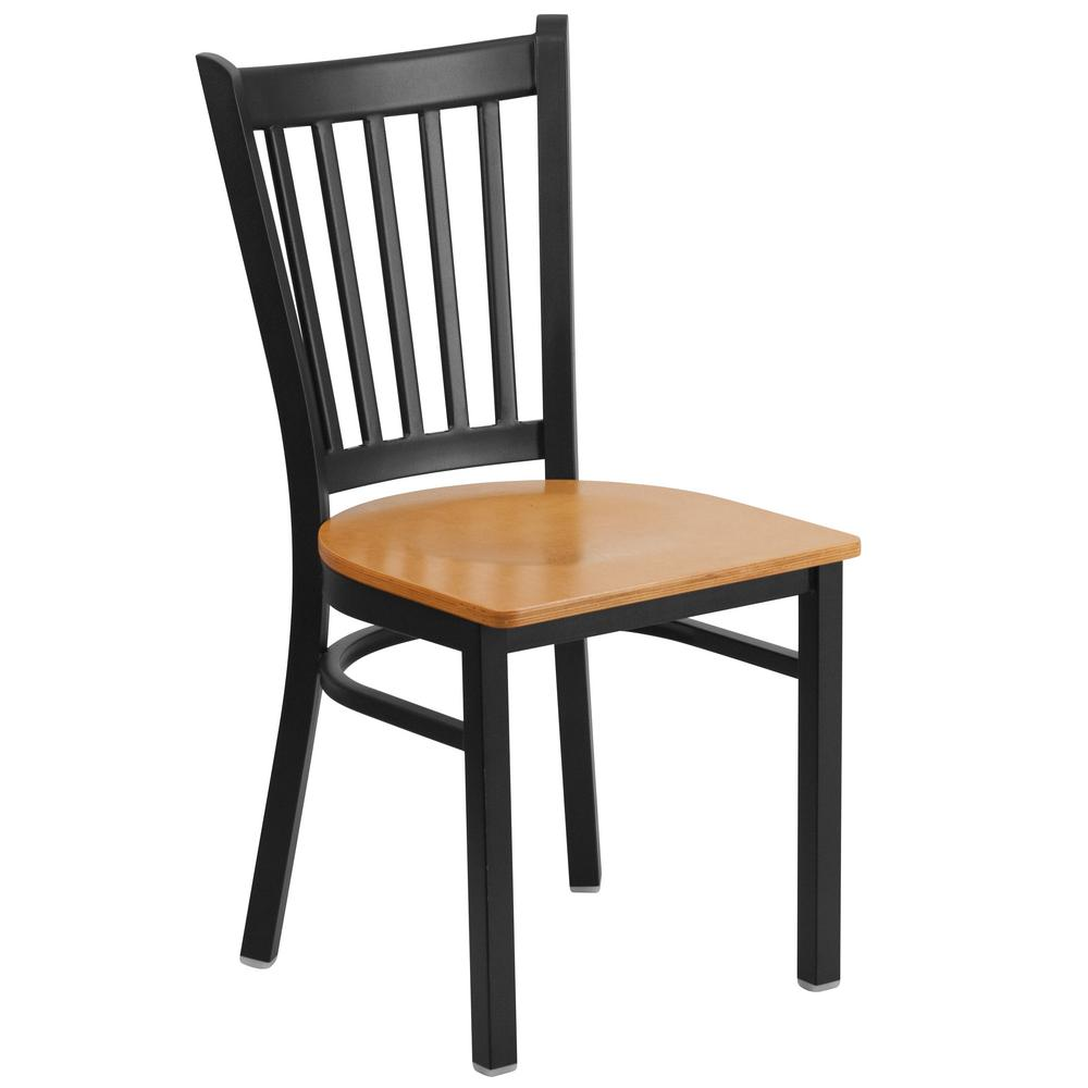 Flash Furniture Hercules Series Black Vertical Back Metal Restaurant Chair    Natural Wood Seat XUDG6Q2BVRTNATW   The Home Depot