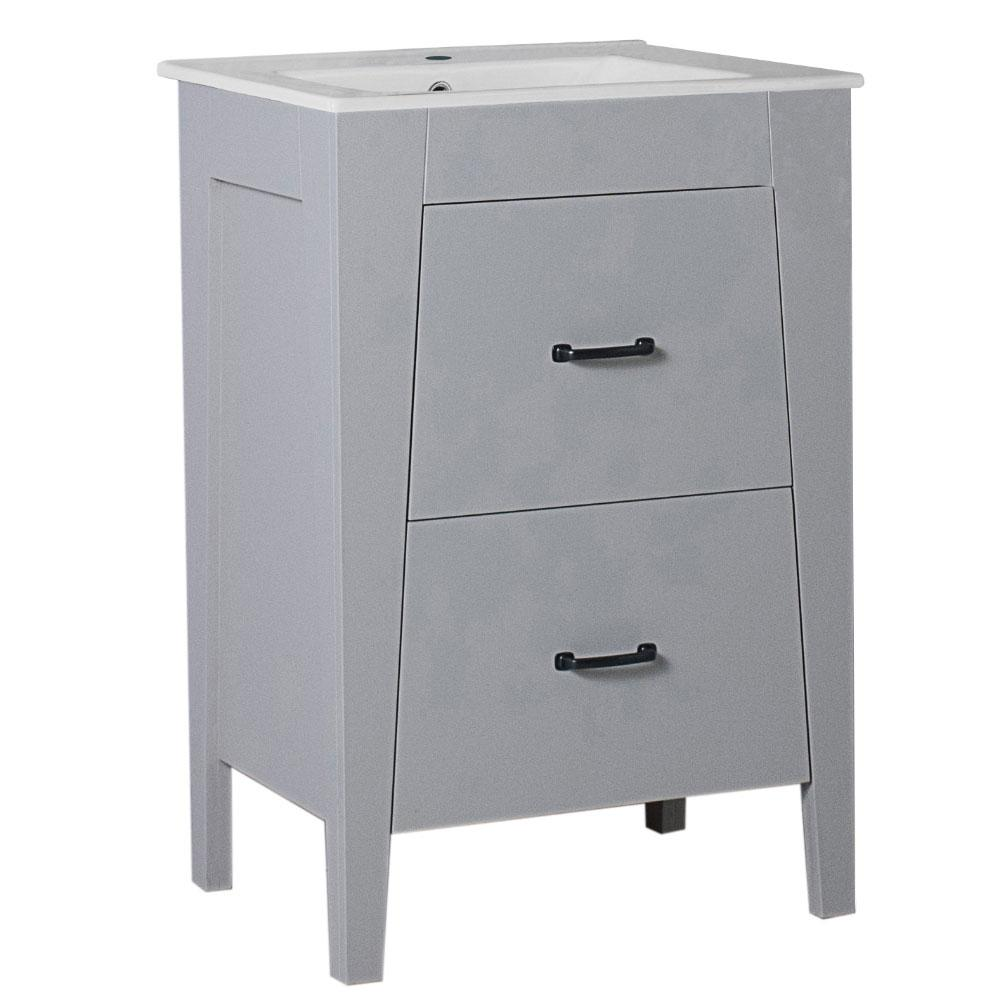 Bellaterra Home Downey 24 in. W x 18 in. D x 36 in. H Single Vanity in Light Gray with Ceramic Vanity Top in White with White Basin