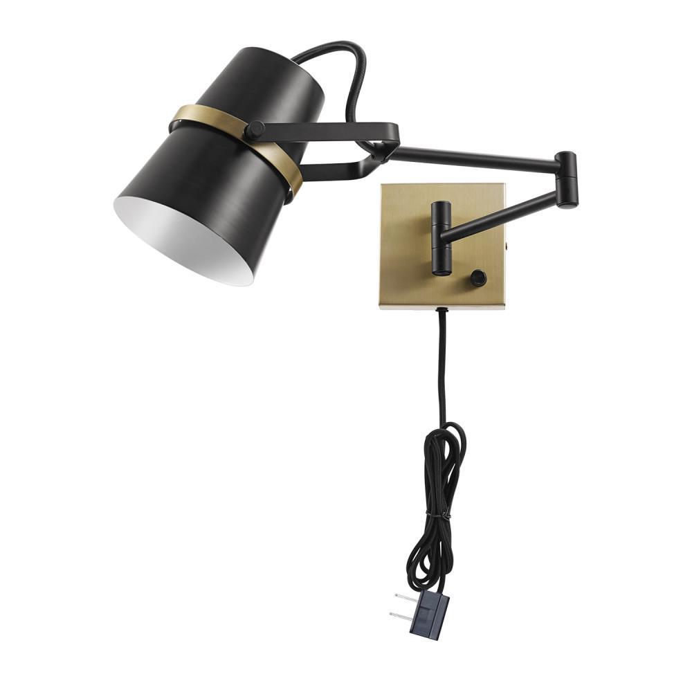 Globe Electric Mckibbin 1 Light Matte Black Plug In Or Hardwire Swing Arm Wall Sconce