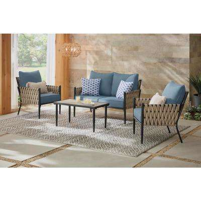 Dockview 4-Piece Metal Outdoor Patio Conversation Set with Blue Cushions