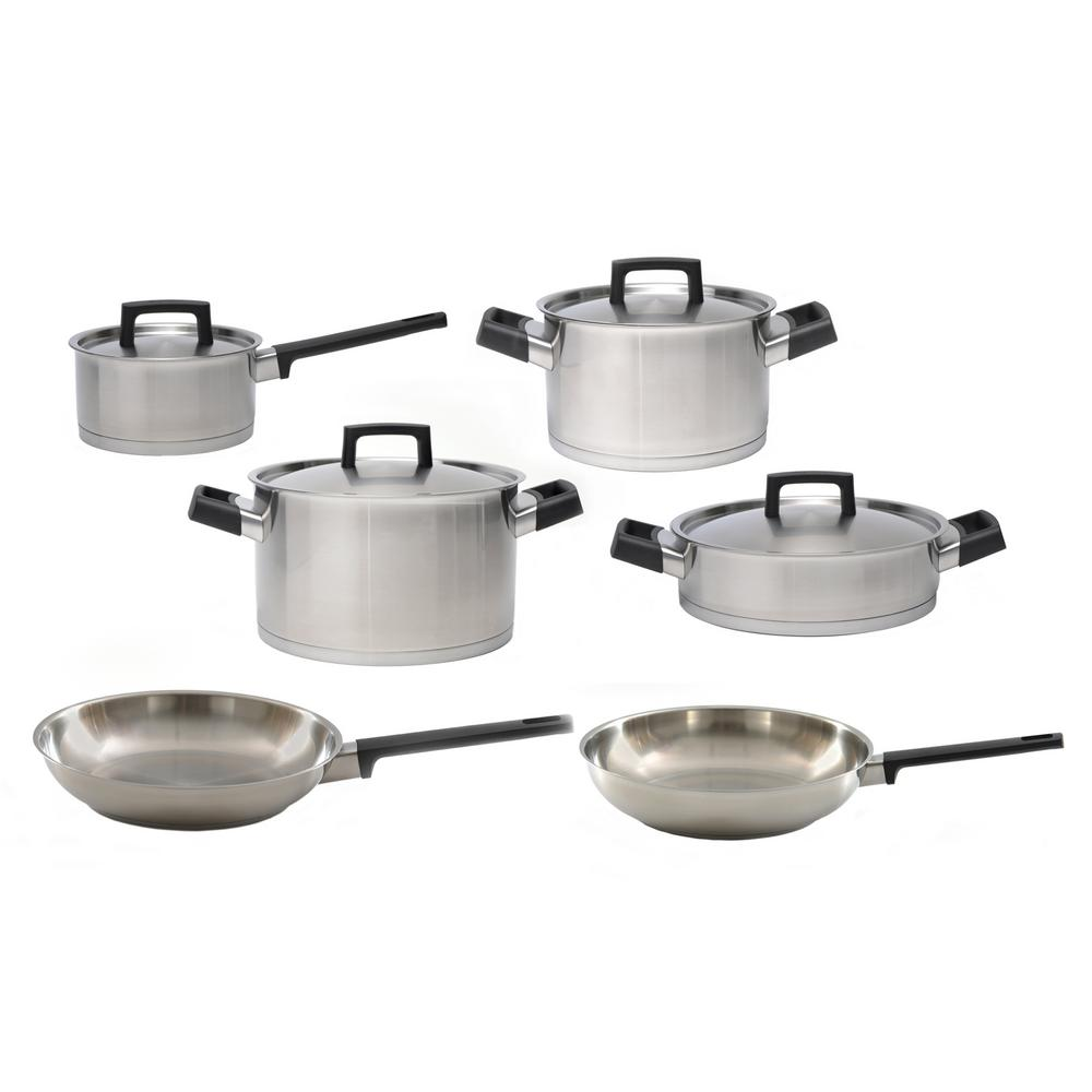 Ron 10 Piece 18/10 Stainless Steel Cookware Set With Lids, Silver