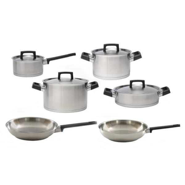 Ron 10-Piece 18/10 Stainless Steel Cookware Set with Lids