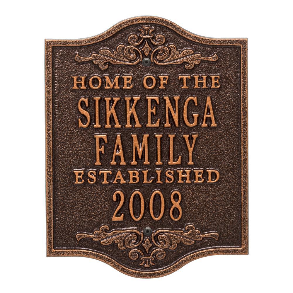 Buena Vista Square Standard Wall 3-Line Anniversary Wedding Personalized Plaque in Antique Copper