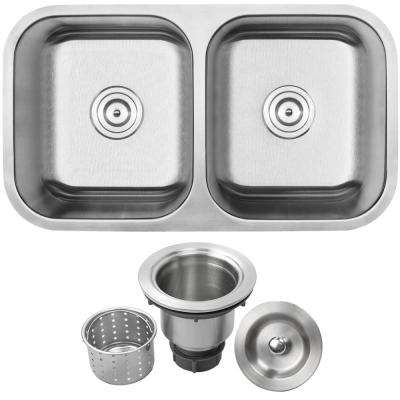 Foster Undermount 18-Gauge Stainless Steel 31.25 in. Double Bowl Kitchen Sink with Basket Strainer