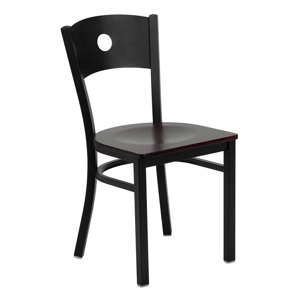 Hercules Series Black Circle Back Metal Restaurant Chair   Mahogany Wood
