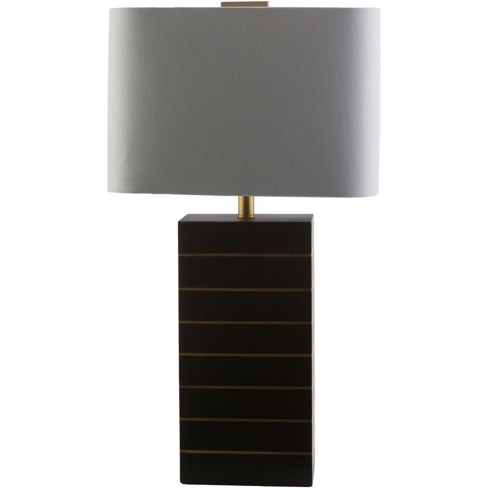 Titan lighting carmichael 25 in steel smoked glass and black black with gold line indoor table lamp geotapseo Gallery