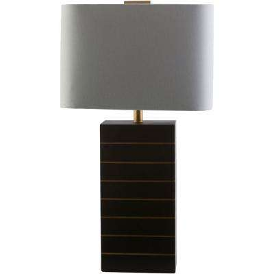 Palade 25 in. Black with Gold Line Indoor Table Lamp