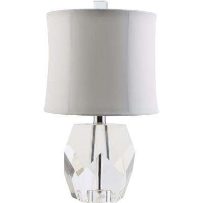 Pacinotti 16.5 in. Clear Indoor Table Lamp with White Shade