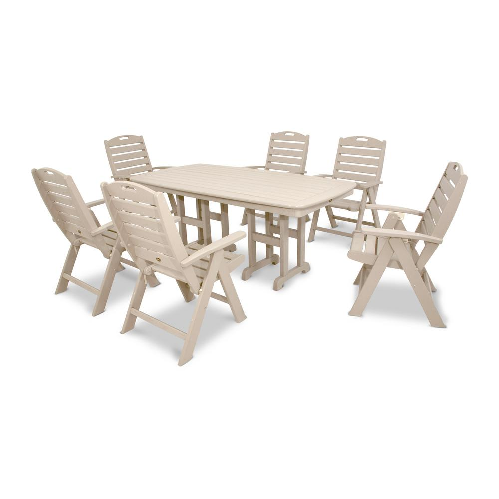 Yacht club sand castle 7 piece high back plastic outdoor patio dining set