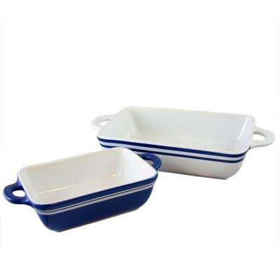 Bistro Edge 2-Piece Blue and White Banded Bakeware Set