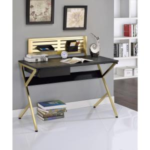 Acme Furniture ACME Bolles Desk, Black and Gold by Acme Furniture