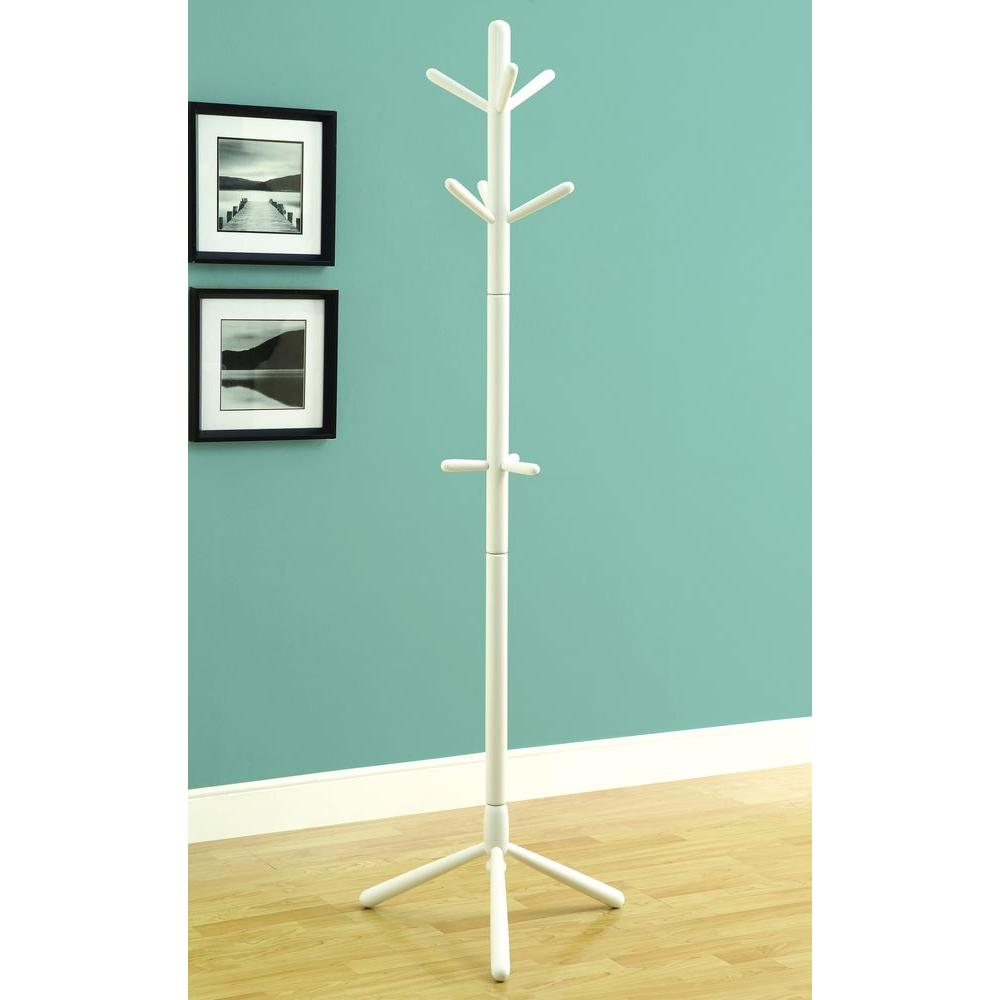 White 9-Hook Coat Rack