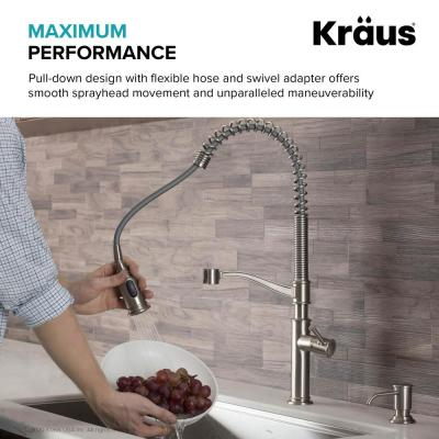 Sellette Single Handle Pull-Down Sprayer Kitchen Faucet with Deck Plate and Soap Dispenser, Spot Free Stainless Steel