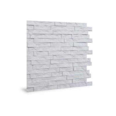 24 in. x 24 in. Ledge Stone PVC Seamless 3D Wall Panels in White 1-Piece