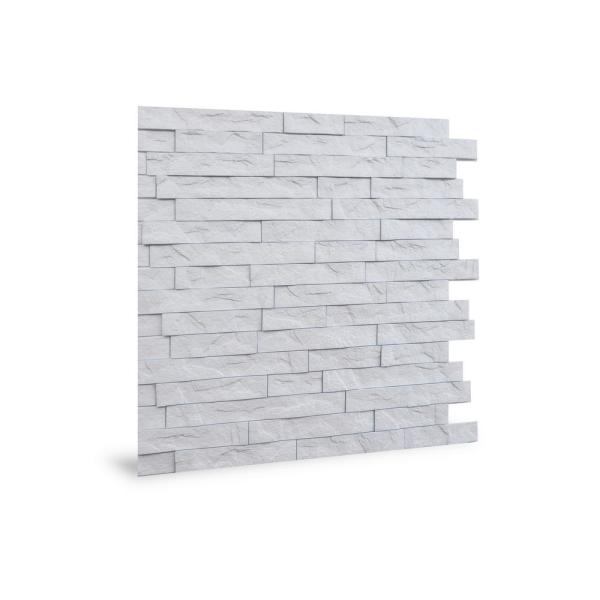 Innovera Decor By Palram 24 In X 24 In Ledge Stone Pvc Seamless 3d Wall Panels In White 1 Piece 704545 The Home Depot