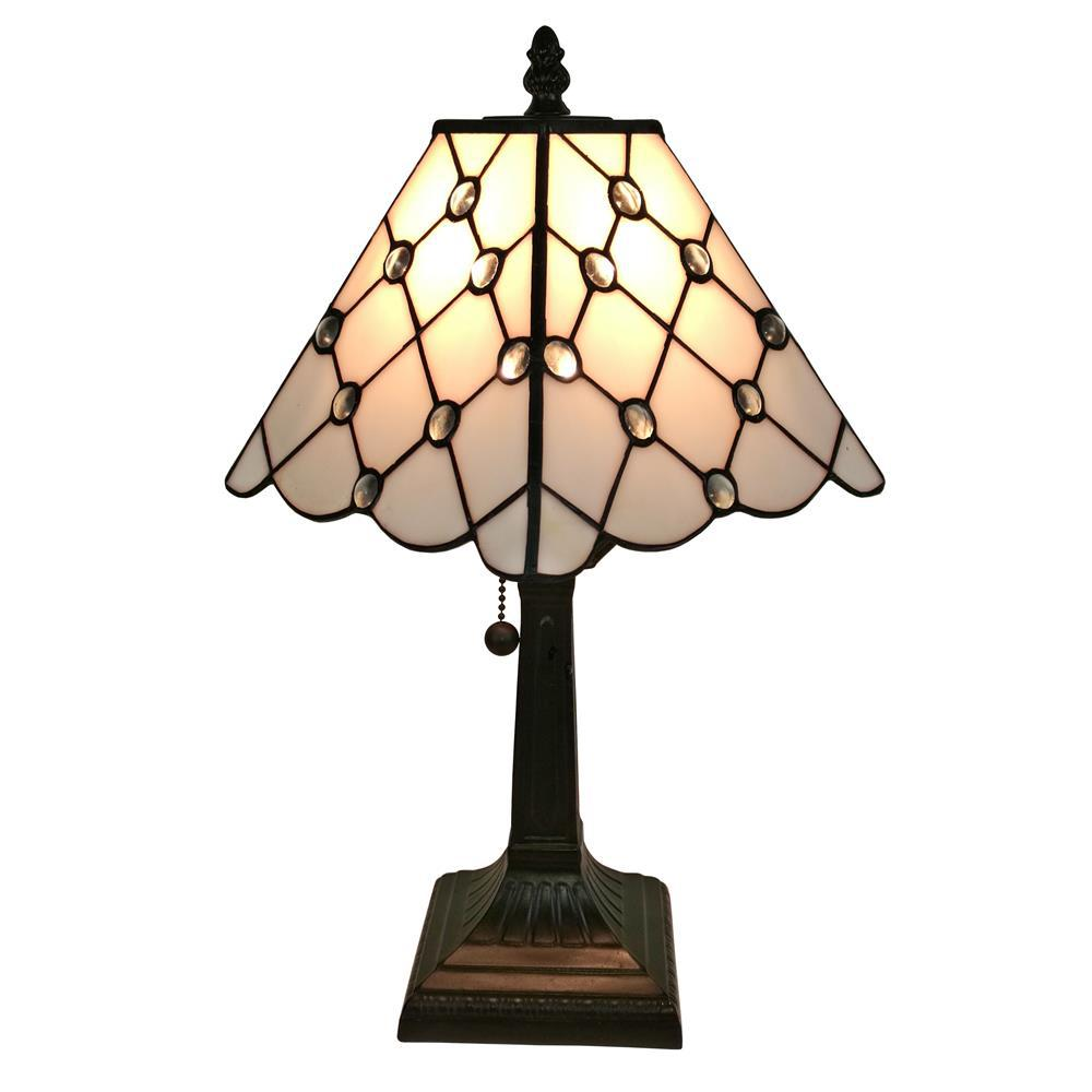 Amora lighting 15 in tiffany style jeweled finish mission table tiffany style jeweled finish mission table lamp geotapseo Choice Image