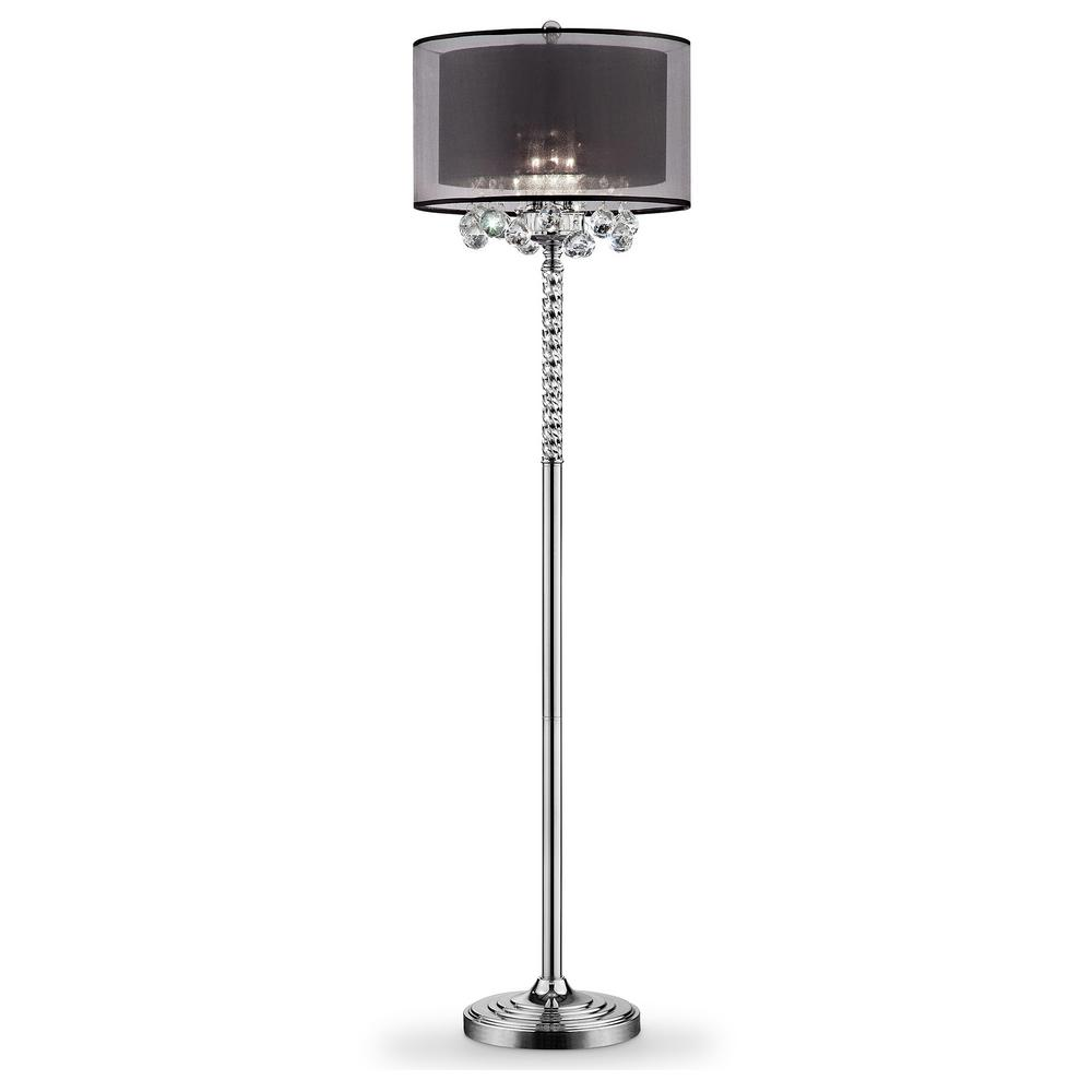 62.5 in. Effleurer Silver Crystal Floor Lamp with Black Shade