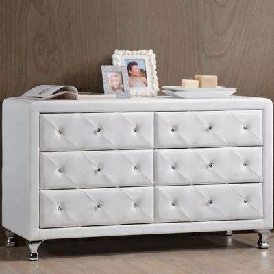 Stella 31.6 in. x 51.75 in. White Faux Leather Upholstered Dresser