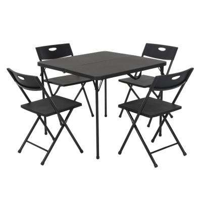 5-Piece Black Fold-in-Half Folding Card Table Set