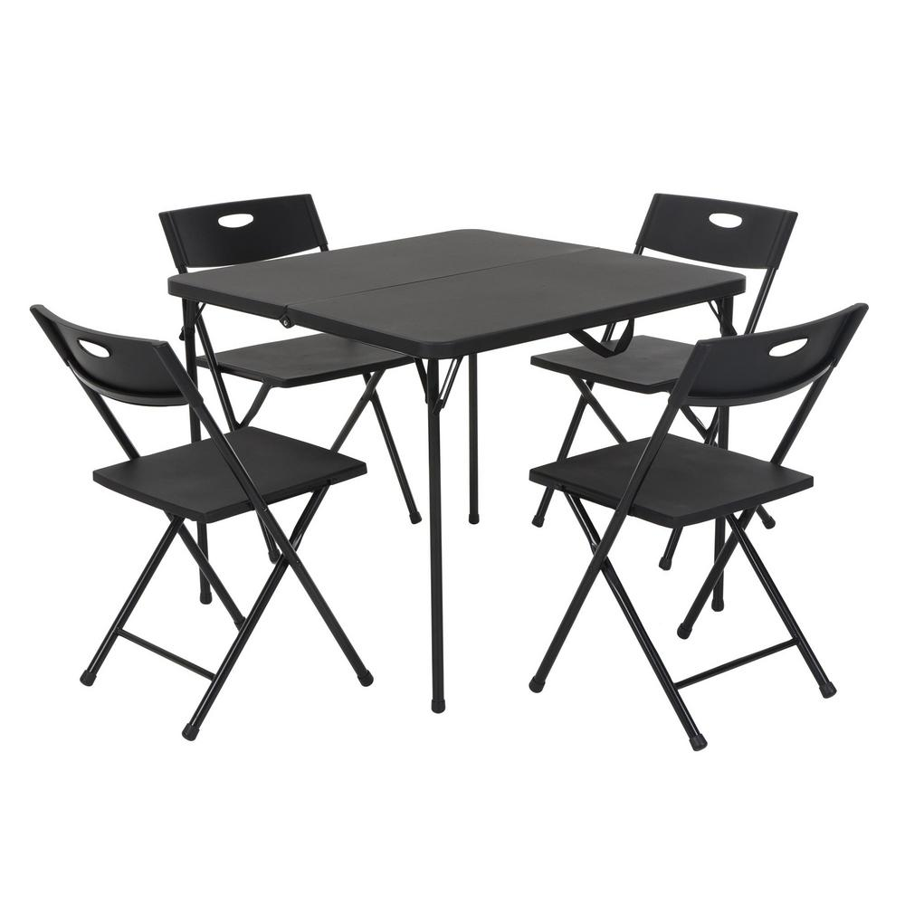 cosco 5 piece black fold in half table and chair set 37335blk1 the home depot. Black Bedroom Furniture Sets. Home Design Ideas