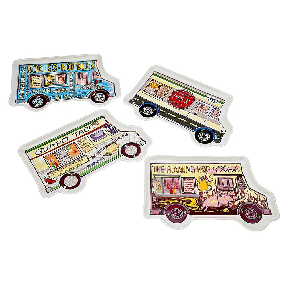 Food Truck Colored Image Display Porcelain Serving Trays (Set of 4)