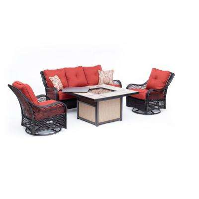 Orleans 4-Piece All-Weather Wicker Patio Fire Pit Conversation Set with Autumn Berry Cushions and Table