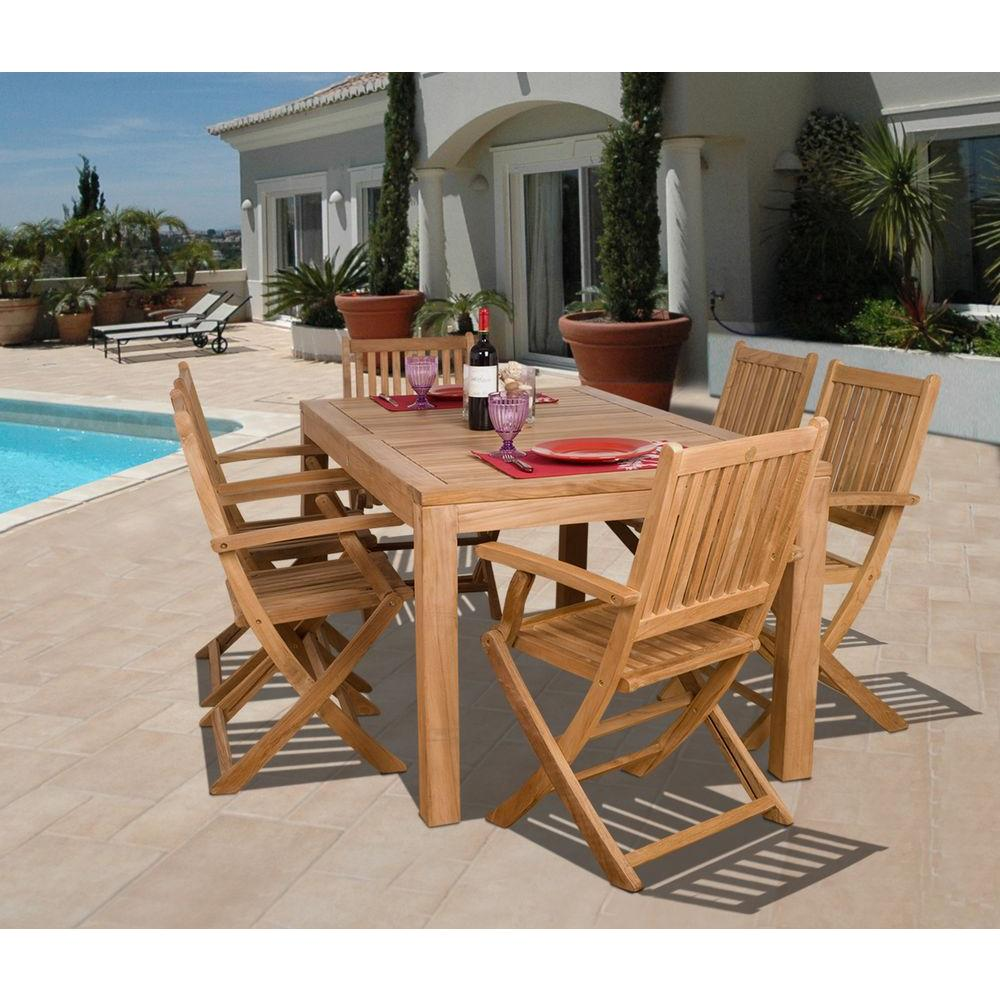 Hampton Bay Budapest 7 Piece Teak Patio Dining Set SC BUDAPEST   The Home  Depot