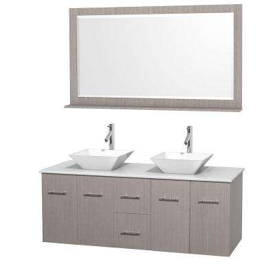 Centra 60 in. Double Vanity in Gray Oak with Solid-Surface Vanity Top in White, Porcelain Sinks and 58 in. Mirror